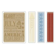 Sizzix A2 Embossing Folders 4PK - Americana Background & Borders Set - 657489
