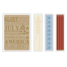 Sizzix A2 Embossing Folders 4PK - Americana Background & Borders Set - 657489