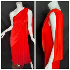 Vintage 70s Dramatic One Shoulder Draped Disco Goddess Maxi Dress Poly Gown M
