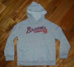 OLD NAVY Genuine MLB Atlanta Braves baseball hoodie sweatshirt, LARGE (10-12)