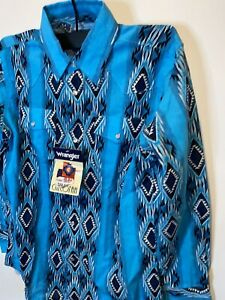 WRANGLER Youth Boy's Pearl Snap L (10-12) Blue NWT Large Blue Cotton