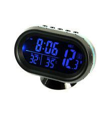 Car Blue LED Backlight Digital Display 2 Thermometer Voltmeter Alarm Clock SNZ
