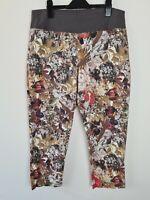 The Ark Floral Nature Print 3/4 Cropped Pants Women's Size L Elastic Waist AUST