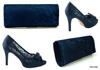 WOMENS NAVY BLUE LACE BOW WEDDING BRIDAL HIGH HEEL COURT SHOES & MATCHING BAG