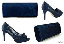 Womens Navy Blue Satin Diamante Prom Party Wedding Bridal Mid Heel Sandals UK 3