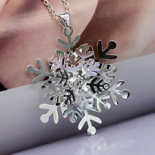 Fashion Women 925 Sterling Silver Crystal Snowflake Pendant Necklace Christmas