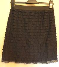 Marks & Spencer UK10 EU38 US6 black stretch tiered frill elastic waist skirt