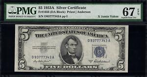1953A $5 Silver Certificate FR-1656 - Graded PMG 67 EPQ Superb Gem Uncirculated