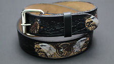 AMERICAN WESTERN 2 WHITE EAGLE BLACK HIDE LEATHER EMBOSSED BELT