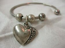Cuff Bracelet silver tone with Heart Charm Beads (H)