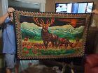 Vintage Deer Elk Stag Velvet Tapestry Wall Hanging Rug ITALY