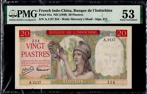 French Indochina 20 Piastres 1949 P-81a PMG53