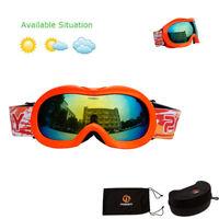 Unisex Kids Ski Goggles Magnet Double Layers Lens Snow Sports Snowboard Anti-UV
