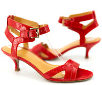 Nine West Women Sandal Red Off Da Hook Leather Kitten Heel Pump Shoe 6 M Strappy