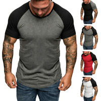 Summer Mens Raglan Short Sleeve T-shirt Sports Slim Fit Crew Neck Basic Tee GIFT