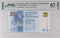 Hong Kong 20 Dollars 2014 P 297 d SCB Superb Gem UNC PMG 67 EPQ New Label