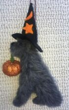 More details for halloween wolfhound / deerhound decoration with pumpkin part needle felted dog