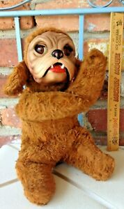 This Vintage Rubber Faced Toy Spaniel Pug Or Bulldog Only Has Blinking Eyes 4 U!