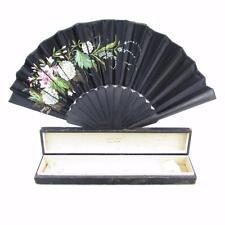Antique Tiffany & Co. Hand Painted Silk Folding Handheld Black Fan w/ Box