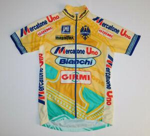 Vintage SMS SANTINI Mercatone Uno Bianchi Cycling Jersey Full Zip Short Sleeve M