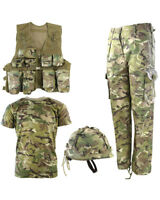 Boys Kids Army Outfit Trousers T Shirt Vest Helmet Soldier Fancy Dress Party UK