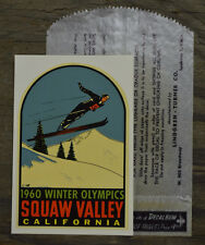 RARE VINTAGE 1960 WINTER OLYMPICS TRAVEL DECAL SQUAW VALLEY CALIFORNIA SKI JUMP