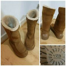 Ugg Australia Womens Boots Size 3 Fur Lined Tan Brown Calf Length