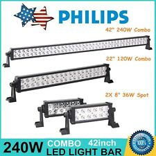 """42"""" 240W Philips LED Light Bar + 22"""" 120W + 8inch 36W Spot Offroad UTE Jeep Ford"""
