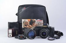 EXC++ CANON T70 35mm SLR w/35-70mm + 75-200mm, 244T FLASH, MANUAL, STRAP, NICE!