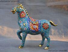 Chinese Bronze Cloisonne Auspicious Feng shui Zodiac Success Animal Horse Statue