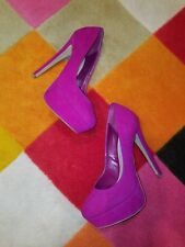 STEVE MADDEN DEMANDO FUSCHIA SUEDE STILETTO PLATFORM PUMPS SHOES WOMEN SIZE 6