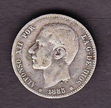 SPAIN SILVER COIN, 1 PESETA 1885 ,VF