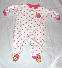 Carter's one piece footed size 6 months white pink polka dots snap front