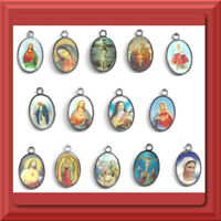 "Catholic Medals Pendants 1"" Silver Plated JESUS Mary Saint Jude Holy Family NICE"