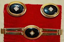 Signed Anson Vintage Onyx/Rhinestone Design Men's Cuff Links and Tie Clip Set