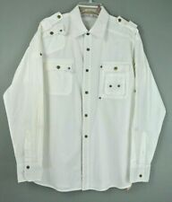 Franky Max Men's Button Down Shirt L White Solid Long Sleeve 100% Cotton #1001M