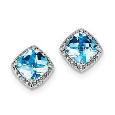 Platino Plata de Ley Diamante Original & Topacio Azul Corte Almohada Pendientes