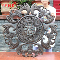 30'' China Fengshui 5 Bats Coin Carved Dragon And Phoenix Bronze Statue