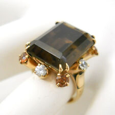 Vtg Smoky Quartz Ring White Sapphire Size 9 Citrine Gemstones 10K Gold Cocktail