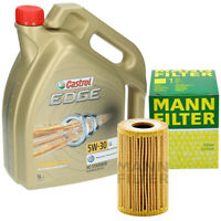 Inspektionskit 5 Liter Castrol Edge 5W-30 Öl Mann Ölfilter HU7008Z für AUDI VW