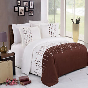 Luxury Ellis White & Chocolate Embroidered 3 Piece Duvet Cover Set with Shams