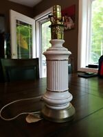 vintage mid century modern white ceramic and brass Deena table lamp