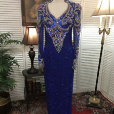Stuning Glitzy Silk Sequin Blue Evening Gown Drag Queen Performer's Stage Dress
