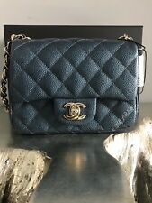 NWT CHANEL 18S Dark Blue Caviar Mini Classic Flap Square 2018 Gold Navy Pearly