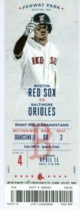 2017 Red Sox vs Orioles Ticket: Dustin Pedroia 4 RBI/Christian Vazquez 4 Hits