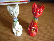 "Set Of Vintage gorgeous Ceramic Cats 4"", hand painted,Very Nice!"