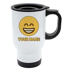 Personalisiert Gesicht Emoji Weiß Reisebecher - Happy 1 - Zähne - Add Ihr Name -