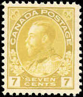Mint NH Canada 7c 1916 F-VF Scott #113 King George V Admiral Issue Stamp