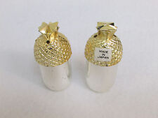 Two Pineapple Salt and Pepper Shakers Signed Japan Vintage Unique Gold Silver
