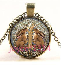 Celtic Rabbit Tree of Life Cabochon bronze Glass Chain Pendant Necklace TS-3710